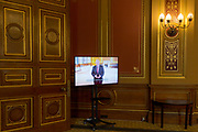 The current Foreign Secretary, Rt Hon Boris Johnson speaks via TV screen to visitors during a tour of the Foreign and Commonwealth Office (FCO), on 17th September 2017, in Whitehall, London, England. Alexander Boris de Pfeffel Johnson PC MP (1964-), known as Boris Johnson, is a divisive British politician whose campaigning led to the UK Brexit vote.