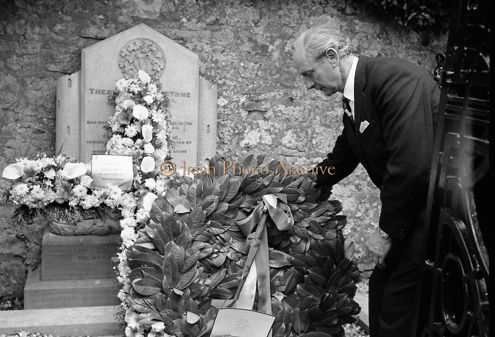 An Taoiseach Jack Lynch was at Bodenstown cemetery for the Fianna Fáil Wolfe Tone Commemoration ceremony. Picture shows Mr. Lynch laying a wreath on the grave. .23.06.1968