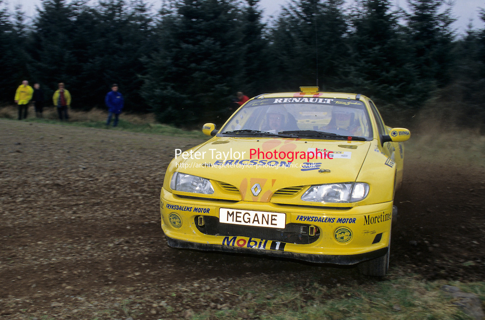 Mobil 1/RAC British Rally Championship 1997. Pirelli International Rally. Jonas Kruse / Anders Olsson. Renault Team Sweden. Renault Maxi Megane. World Copyright: Peter Taylor/PSP. Copy of publication required for printed pictures. Every used picture is fee-liable..