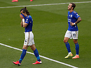 Caglar Soyuncu of Leicester City and James Maddison of Leicester City frustrated following the Watford equaliser during the Premier League match at Vicarage Road, Watford. Picture date: 20th June 2020. Picture credit should read: Darren Staples/Sportimage