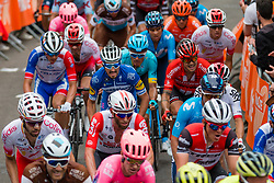 Peloton with Julian Alaphilippe (FRA) of Deceuninck - Quick Step (BEL,WT,Specialized) during the 2nd lap on Mur de Huy at 2019 La Flèche Wallonne (1.UWT) with 195 km racing from Ans to Mur de Huy, Belgium. 24th April 2019. Picture: Pim Nijland | Peloton Photos<br /> <br /> All photos usage must carry mandatory copyright credit (Peloton Photos | Pim Nijland)