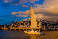 Sailboat off Mallory Square before the daily sunset celebration, Key West, Florida Keys, Florida USA