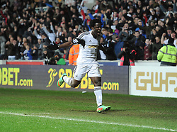 Swansea City's Wilfried Bony celebrates his goal. - Photo mandatory by-line: Alex James/JMP - Tel: Mobile: 07966 386802 08/02/2014 - SPORT - FOOTBALL - Swansea - Liberty Stadium - Swansea City v Cardiff City - Barclays Premier League