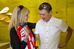 Dada Jerovsek of Kaval Group and Slovenian rider Jani Brajkovic of Team RadioShack at press conference before cycling race Tour de France 2011, on June 27, 2011, in Crnuce, Ljubljana, Slovenia. (Photo by Vid Ponikvar / Sportida)