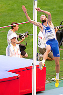 Kostadinos Baniotis from Greece competes in men's high jump qualification during the 14th IAAF World Athletics Championships at the Luzhniki stadium in Moscow on August 13, 2013.<br /> <br /> Russian Federation, Moscow, August 13, 2013<br /> <br /> Picture also available in RAW (NEF) or TIFF format on special request.<br /> <br /> For editorial use only. Any commercial or promotional use requires permission.<br /> <br /> Mandatory credit:<br /> Photo by © Adam Nurkiewicz / Mediasport
