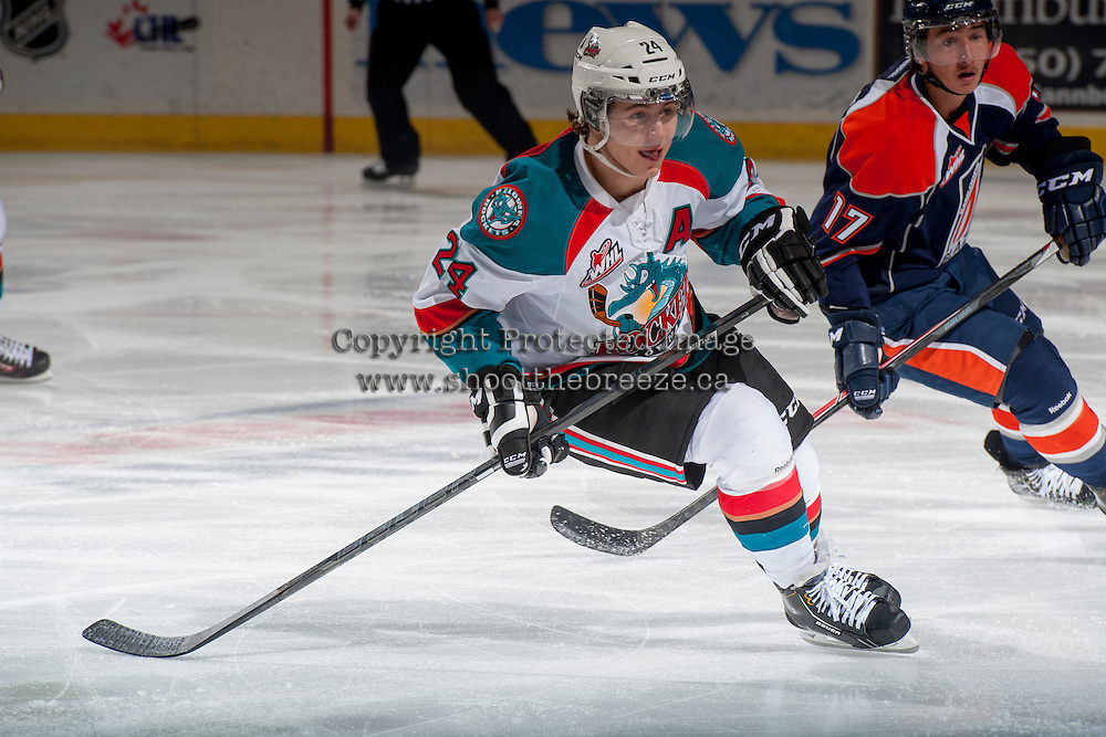 KELOWNA, CANADA - DECEMBER 27: Tyson Baillie #24 of the Kelowna Rockets skates against Kamloops Blazers on December 27, 2013 at Prospera Place in Kelowna, British Columbia, Canada.   (Photo by Marissa Baecker/Shoot the Breeze)  ***  Local Caption  ***