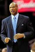 April 5, 2011; Cleveland, OH, USA; Cleveland Cavaliers head coach Byron Scott yells to her players during the fourth quarter against the Charlotte Bobcats at Quicken Loans Arena. The Cavaliers beat the Bobcats 99-89. Mandatory Credit: Jason Miller-US PRESSWIRE