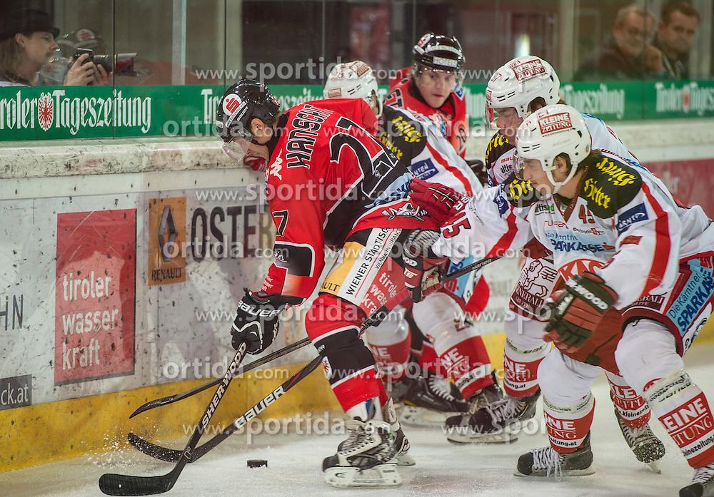 16.09.2012, Tiroler Wasserkraft Arena, Innsbruck, AUT, EBEL, HC TWK Innsbruck vs EC KAC, 04. Runde, im Bild Andreas Hanschitz, (HC TWK Innsbruck, # 27) und David Schuller, (EC KAC, #45) // during the Erste Bank Icehockey League 4th Round match between HC TWK Innsbruck and EC KAC at the Tiroler Wasserkraft Arena, Innsbruck, Austria on 2012/09/16. EXPA Pictures © 2012, PhotoCredit: EXPA/ Eric Fahrner