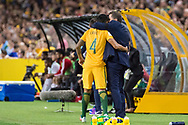 March 28 2017: Socceroos Tim CAHILL (4) and Socceroos coach Ange Postecoglou at the 2018 FIFA World Cup Qualification match, between The Socceroos and UAE played at Allianz Stadium in Sydney.