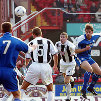 St Mirren v St Johnstone.. 22.03.03<br />Ian Maxwell opens the scoring for st Johnstone<br />Pic by Graeme Hart<br />Copyright Perthshire Picture Agency<br />Tel: 01738 623350 / 07990 594431