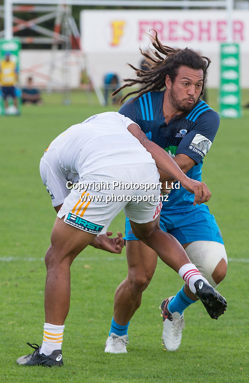 Blues player Rene Ranger is tackled during the Blues vs Chiefs pre season Super Rugby match played at Alexandra Park in Auckland on the 17th February 2017. <br /> Credit; Peter Meecham/ www.photosport.nz