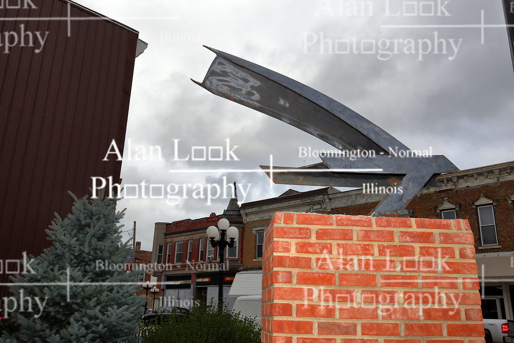 "McLean County Illinois monuments and landmarks<br /> <br /> ""The Bird"" is an artwork located at HOW Park on the main street in LeRoy Illinois.  The artwork is a donation as well as the brick standard and the labor.  The work is in memory of Hannah Prospal."