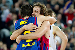 Ricky Rubio of Barcelona and Roger Girmau of Barcelona celebrate after the Euroleague Top 16 basketball match between KK Union Olimpija Ljubljana (SLO) and FC Regal Barcelona (ESP) in Group F, on January 27, 2011 in Arena Stozice, Ljubljana, Slovenia. Barcelona defeated Olimpija 68-67. (Photo By Vid Ponikvar / Sportida.com)