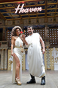 The God of Soho <br /> by Chris Hannan<br /> directed by Raz Shaw<br /> at Shakespeare's Globe Theatre, London, Great Britain <br /> press photocall<br /> 31st August 2011 <br /> <br /> Phil Daniels (as Big God)<br /> Miranda Foster (as Mrs God)<br /> <br /> Photograph by Elliott Franks