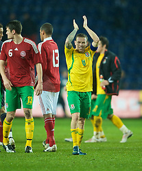 COPENHAGEN, DENMARK - Wednesday, November 19, 2008: Wales' match-winning captain Craig Bellamy celebrates after his goal sealed a 1-0 victory over Denmark during the international friendly match at the Brøndby Stadium. (Photo by David Rawcliffe/Propaganda)