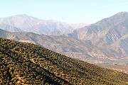 Landscape of Ouirgane region and small Berber villages in the High Atlas Mountains, Morocco, 2013-10-17.