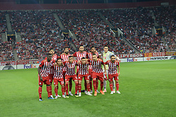 September 20, 2018 - Piraeus, Attiki, Greece - Commemorative photo of Olympiacos team. (Credit Image: © Dimitrios Karvountzis/Pacific Press via ZUMA Wire)