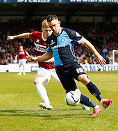 Matthew Bloomfield of Wycombe Wanderers (fornt) and Alan Connell of Northampton Town (rear) during the Sky Bet League 2 match at Adams Park, High Wycombe<br /> Picture by David Horn/Focus Images Ltd +44 7545 970036<br /> 18/04/2014