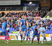 Dundee's Thomas Konrad watches his header drift wide - Inverness v Dundee  - SPFL Premiership at the Caledonian Stadium<br /> <br />  - &copy; David Young - www.davidyoungphoto.co.uk - email: davidyoungphoto@gmail.com
