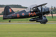 A Lysander lands - The Duxford Battle of Britain Air Show is a finale to the centenary of the Royal Air Force (RAF) with a celebration of 100 years of RAF history and a vision of its innovative future capability.