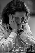 Warsaw, Poland - 2017 March 29: Chess player Monika Socko (maiden name: Bobrowska) (Hetman Katowice) plays chess during the game while Polish Chess Championship at Stock Exchange Center on March 29, 2017 in Warsaw, Poland.<br /> <br /> Mandatory credit:<br /> Photo by &copy; Adam Nurkiewicz / Mediasport<br /> <br /> Adam Nurkiewicz declares that he has no rights to the image of people at the photographs of his authorship.<br /> <br /> Picture also available in RAW (NEF) or TIFF format on special request.<br /> <br /> Any editorial, commercial or promotional use requires written permission from the author of image.<br /> <br /> Image can be used in the press when the method of use and the signature does not hurt people on the picture.