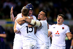 Tom de Glanville of England U20 celebrates with teammates after scoring a try - Mandatory by-line: Robbie Stephenson/JMP - 15/03/2019 - RUGBY - Franklin's Gardens - Northampton, England - England U20 v Scotland U20 - Six Nations U20