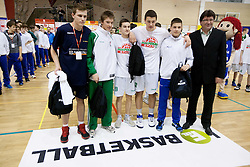 Players of Mini spar cup U14 during basketball match between KK Union Olimpija Ljubljana and KK Krka Novo mesto of finals of 11th Slovenian Spar Cup 2012, on February 19, 2012 in Sports hall Brezice,  Brezice, Slovenia. (Photo By Vid Ponikvar / Sportida.com)