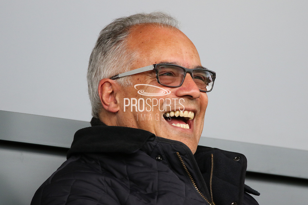 Burton Albion chairman Ben Robinson is in a happy mood during the Sky Bet League 1 match between Burton Albion and Gillingham at the Pirelli Stadium, Burton upon Trent, England on 30 April 2016. Photo by Aaron  Lupton.