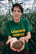 Biosphere 2 Project undertaken by Space Biosphere Ventures, a private ecological research firm funded by Edward P. Bass of Texas.  Sally Silverstone, one of the eight inhabitants of the Biosphere, holds ladybugs inside the greenhouse of Biosphere 2.  Biosphere 2 was a privately funded experiment, designed to investigate the way in which humans interact with a small self-sufficient ecological environment, and to look at possibilities for future planetary colonization.  1986