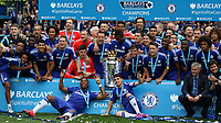Football - 2014 / 2015 Premier League - Chelsea vs. Sunderland.   <br /> <br /> Chelsea players display the Barclay's Premier League Trophy at Stamford Bridge. <br /> <br /> COLORSPORT/DANIEL BEARHAM