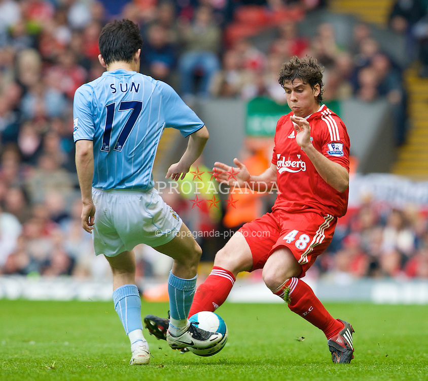 LIVERPOOL, ENGLAND - Sunday, May 4, 2008: Liverpool's Emiliano Insua in action on his home debut against Manchester City during the Premiership match at Anfield. (Photo by David Rawcliffe/Propaganda)