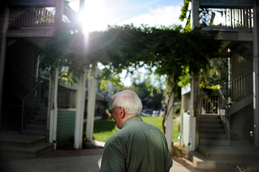 photo by Matt Roth..Steve Pretl, a twelve year Takoma Village Cohousing resident stands in the  Washington, D.C. based complex's courtyard, Thursday, September 20, 2012