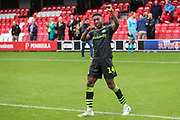 Forest Green Rovers Ebou Adams(14) salutes the travelling fans at the end of the match during the EFL Sky Bet League 2 match between Salford City and Forest Green Rovers at Moor Lane, Salford, United Kingdom on 28 September 2019.