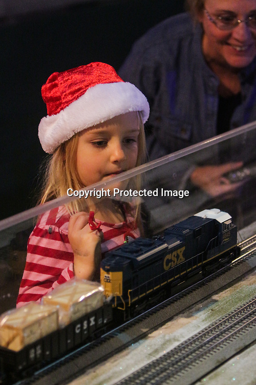 Zoe Reighard, left, 5, and her grandmother Deborah Reighard watch a model train during The Cape Fear Model Railroad Society Holiday Train Expo 2014 in Wilmington, N.C. The event will be held each weekend until December 28. (Jason A. Frizzelle)