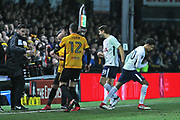 Tottenham Hotspur  Dele Alli (20) coming on for  Tottenham Hotspur  Fernando Llorente (18) during the The FA Cup 4th round match between Newport County and Tottenham Hotspur at Rodney Parade, Newport, Wales on 27 January 2018. Photo by Gary Learmonth.