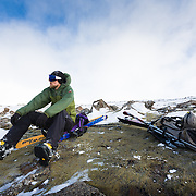 Styrmir Steingrímsson telemark skiing in Lönguhlíðar, Bláfjöll mountain range. Iceland.