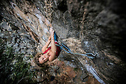 Michelle Kinny, on Sucking My Will to Live, 5.12c, at Primo Wall in Clear Creek Canyon. Kris Ugarriza - Red Wave Pictures