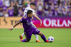 May 6, 2018 - Orlando, FL, U.S. - ORLANDO, FL - MAY 06: Orlando City defender Mohamed El-Munir (13) and Real Salt Lake forward Jefferson Savarino (7) go for the ball during the soccer match between the Orlando City Lions and Real Salt Lake on May 6, 2018 at Orlando City Stadium in Orlando FL. Photo by Joe Petro/Icon Sportswire) (Credit Image: © Joe Petro/Icon SMI via ZUMA Press)
