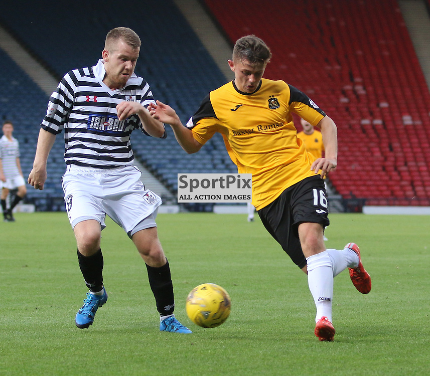 Callum Waters takes on the queens defence  during the Queens Park FC V Dumbarton FC Petrofac Training Cup 18th August 201(c) Andy Scott   SportPix.org.uk