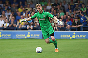 AFC Wimbledon goalkeeper George Long (1) clearing the ball during the EFL Sky Bet League 1 match between AFC Wimbledon and Oldham Athletic at the Cherry Red Records Stadium, Kingston, England on 21 April 2018. Picture by Matthew Redman.