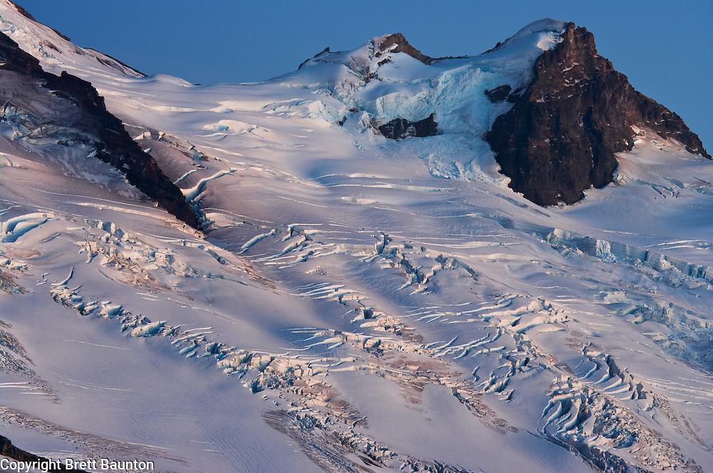 Mt. Baker; Coleman Glacier; North Cascades; Pacific NW; Washington State; Wilderness, Crevasse; Blue, Evening