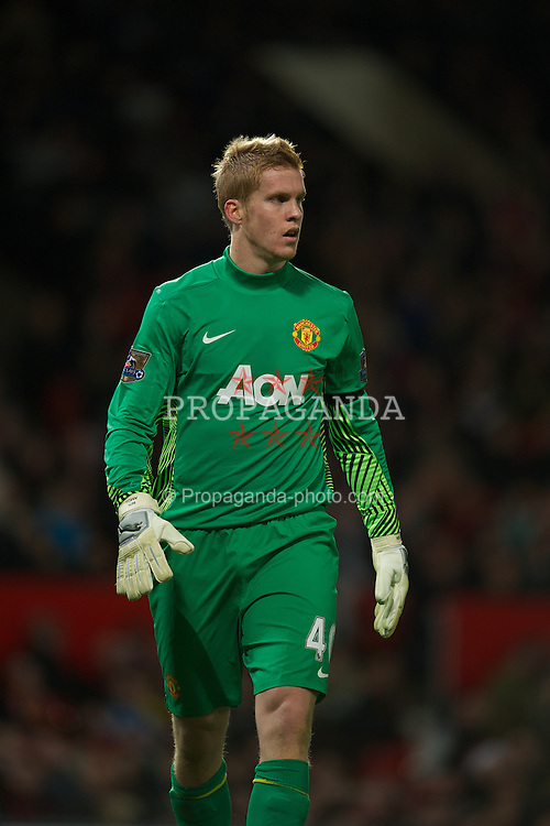 MANCHESTER, ENGLAND - Wednesday, November 29, 2011: Manchester United's goalkeeper Ben Amos in action against Crystal Palace during the Football League Cup Quarter-Final match at Old Trafford. (Pic by David Rawcliffe/Propaganda)