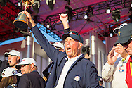 winning Team USA with the trophy at the presentation<br /> Captain Davis Love III <br /> after winning 17 to 11 points<br /> Sunday singles matches on the final day at the Ryder Cup 2016