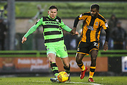 Forest Green Rovers Dayle Grubb(8) fends off Cambridge United's Medy Elito(21) during the EFL Sky Bet League 2 match between Forest Green Rovers and Cambridge United at the New Lawn, Forest Green, United Kingdom on 20 January 2018. Photo by Shane Healey.