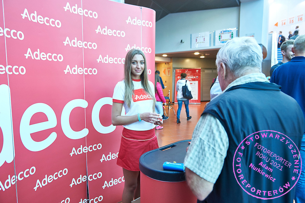 Adecco stand in commercial area during Davis Cup Tie World Group Play-off Poland v Slovakia at Gdynia Arena Hall in Gdynia, Poland.<br /> <br /> Poland, Gdynia, September 18, 2015<br /> <br /> Picture also available in RAW (NEF) or TIFF format on special request.<br /> <br /> For editorial use only. Any commercial or promotional use requires permission.<br /> <br /> Adam Nurkiewicz declares that he has no rights to the image of people at the photographs of his authorship.<br /> <br /> Mandatory credit:<br /> Photo by &copy; Adam Nurkiewicz / Mediasport
