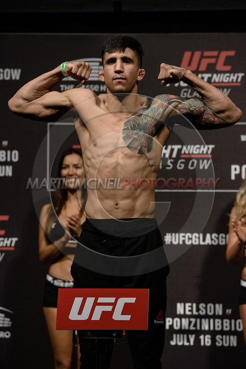 """GLASGOW, UNITED KINGDOM, JULY 15, 2017: Albert Morales on stage during the ceremonial weigh-in for """"UFC Fight Night Glasgow: Nelson vs. Ponzinibbio"""" inside the SSE Hydro Arena in Glasgow"""