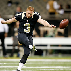 Dec 29, 2013; New Orleans, LA, USA; New Orleans Saints kicker Shayne Graham (3) prior to kickoff of a game against the Tampa Bay Buccaneers at Mercedes-Benz Superdome. Mandatory Credit: Derick E. Hingle-USA TODAY Sports