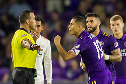 August 4, 2018 - Orlando, FL, U.S. - ORLANDO, FL - AUGUST 04: Orlando City defender Yoshimar Yotun (19) argues with the official after receiving a red card during the soccer match between the Orlando City Lions and the New England Revolution on August 4, 2018 at Orlando City Stadium in Orlando FL. (Photo by Joe Petro/Icon Sportswire) (Credit Image: © Joe Petro/Icon SMI via ZUMA Press)