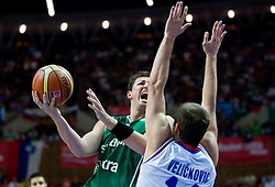Primoz Brezec (7) of Slovenia during the EuroBasket 2009 Semi-final match between Slovenia and Serbia, on September 19, 2009, in Arena Spodek, Katowice, Poland. Serbia won after overtime 96:92.  (Photo by Vid Ponikvar / Sportida)