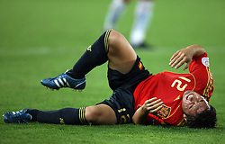 Santi Cazorla of Spain (12) injured during the UEFA EURO 2008 Quarter-Final soccer match between Spain and Italy at Ernst-Happel Stadium, on June 22,2008, in Wien, Austria. Spain won after penalty shots 4:2. (Photo by Vid Ponikvar / Sportal Images)